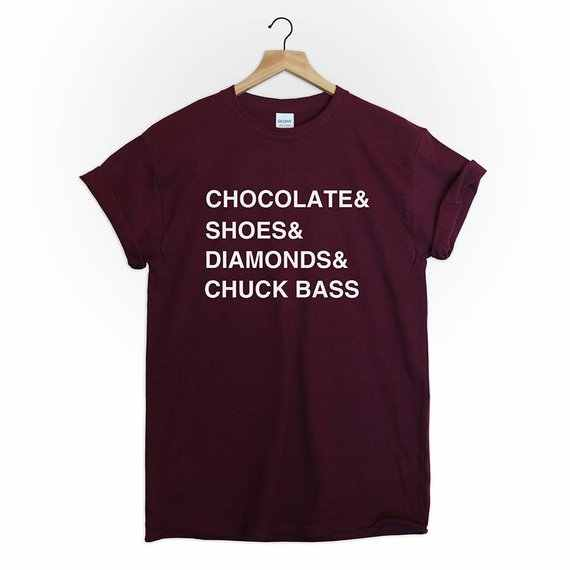 Tumblr NewTee Top Bonito de Chocolate e Sapatos e Diamantes e Chuck Chuck Bass Gossip Girls Tshirt Camisa