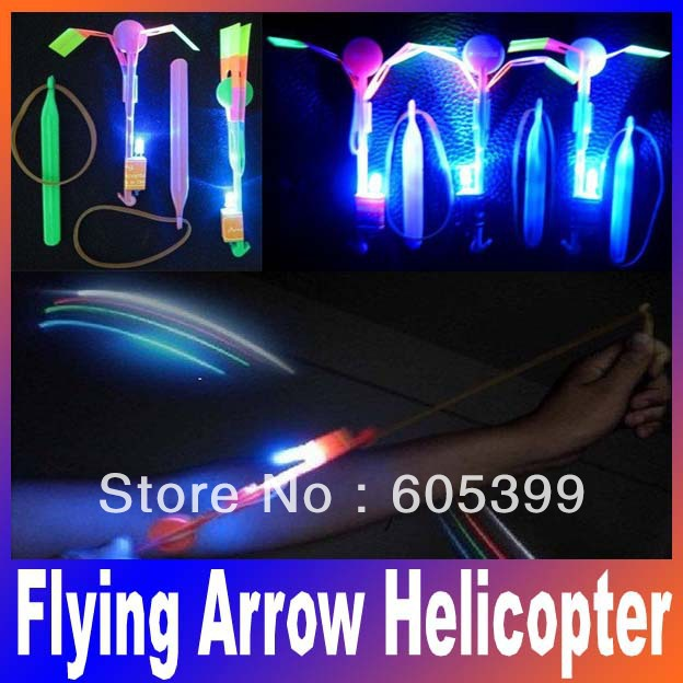 Glow Party Supplie Novelty Children Toy LED Flier Flyer LED Flying Amazing arrow helicopter Flying Umbrella Kids toys ...
