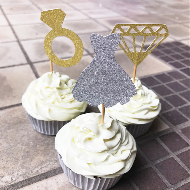 bridal shower cupcake toppers diamond ring topper wedding dress topperengagement food picks