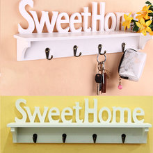 Милые полки для дома, держатели для ключей, 4 крючка, настенный органайзер для хранения, настенная вешалка для дома, подвесные крючки, украшение для дома