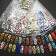 1440pcs/lot 39 Colors Mix 6 Sizes Round Crystals And Stones Non Hot Fix Flat Back Rhinestone For Nail Art Decoration