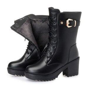 Image 5 - Morazora 2020 botas de couro genuíno quente mulheres zip fivela de lã de ovelha quente botas de neve alta heela inverno plataforma tornozelo botas senhora