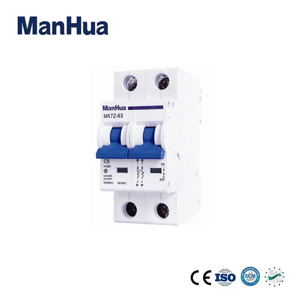 все цены на ManHua 2P DC Air Automatic MK7Z-63 C6 Voltage Relay 230V/400V Disjunctor Miniature Circuit Breaker онлайн