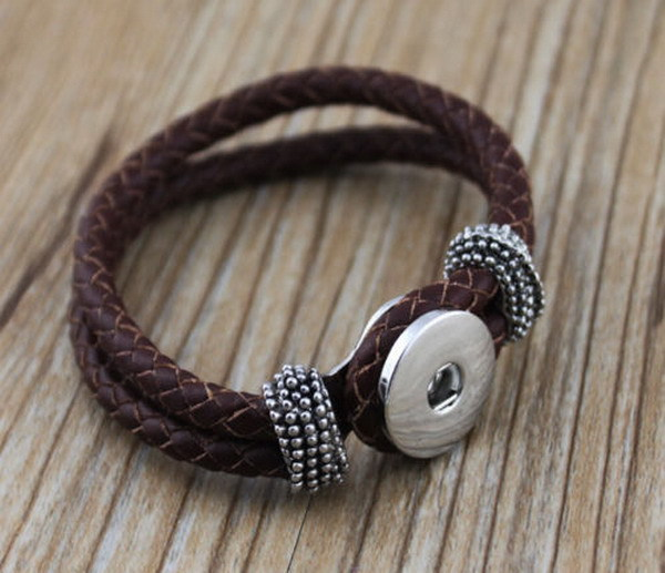 Unisex Wide Leather Bracelet Fashionable Leather Design with Snap Buttons 0E87OqbYL