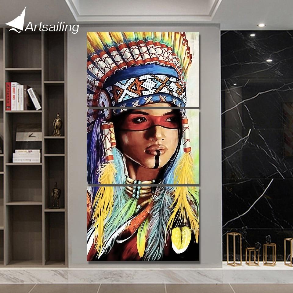 ArtSailing 3 stück leinwand kunst Malerei native American Indian mit feder dekoration bilder für wohnzimmer Poster NY-7807C