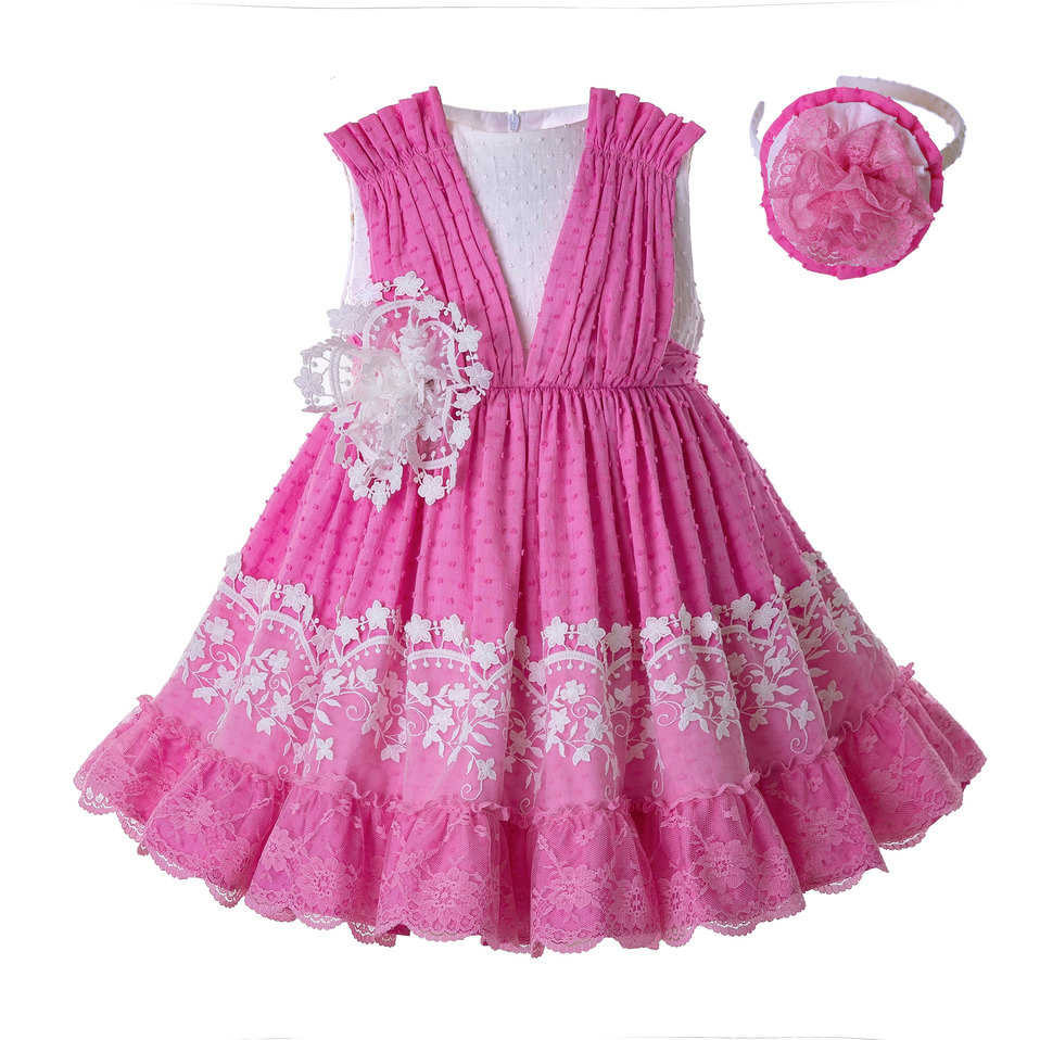 Pettigirl 2019 Newest Baby Girls Dresses Pink Lace Sleeveless Flower Dress With Headwear Kids Party Clothing