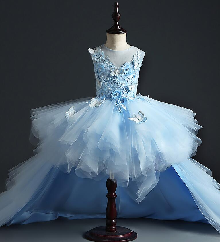 Glizt Long Trailing Tulle Girls Pageant Dress Flower Girl Dress for Wedding Floral Girls Party Princess