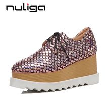 Nuliga big size beauty fish scales square toe high wedges. US  54.00    piece Free Shipping 4a40cad01738