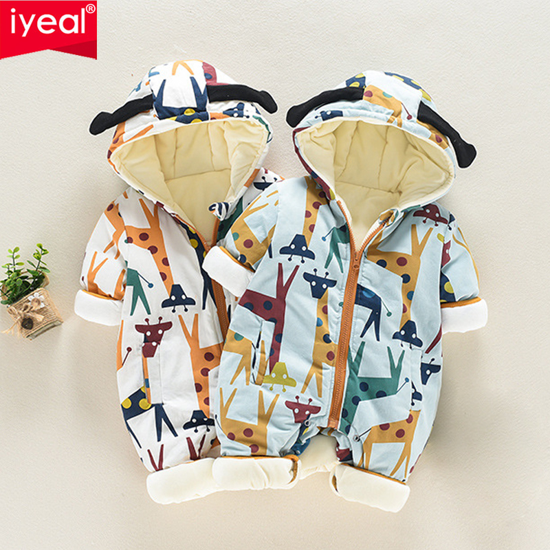 IYEAL Baby Snowsuit Infant Boys Girls Cartoon Giraffe Hooded Jumpsuit Winter Thicken Warm Romper Kids Newborn Toddler Clothes iyeal baby rompers warm soft flannel winter baby clothes cartoon animal 3d ears children girls jumpsuit newborn infant romper