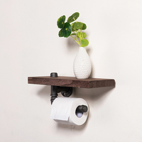 30*15cm Industrial Iron Pipe Wall Mounted Toilet Paper Holder Kitchen Towel Rack Roll Paper Tissue Holder with Wood Shelf J011