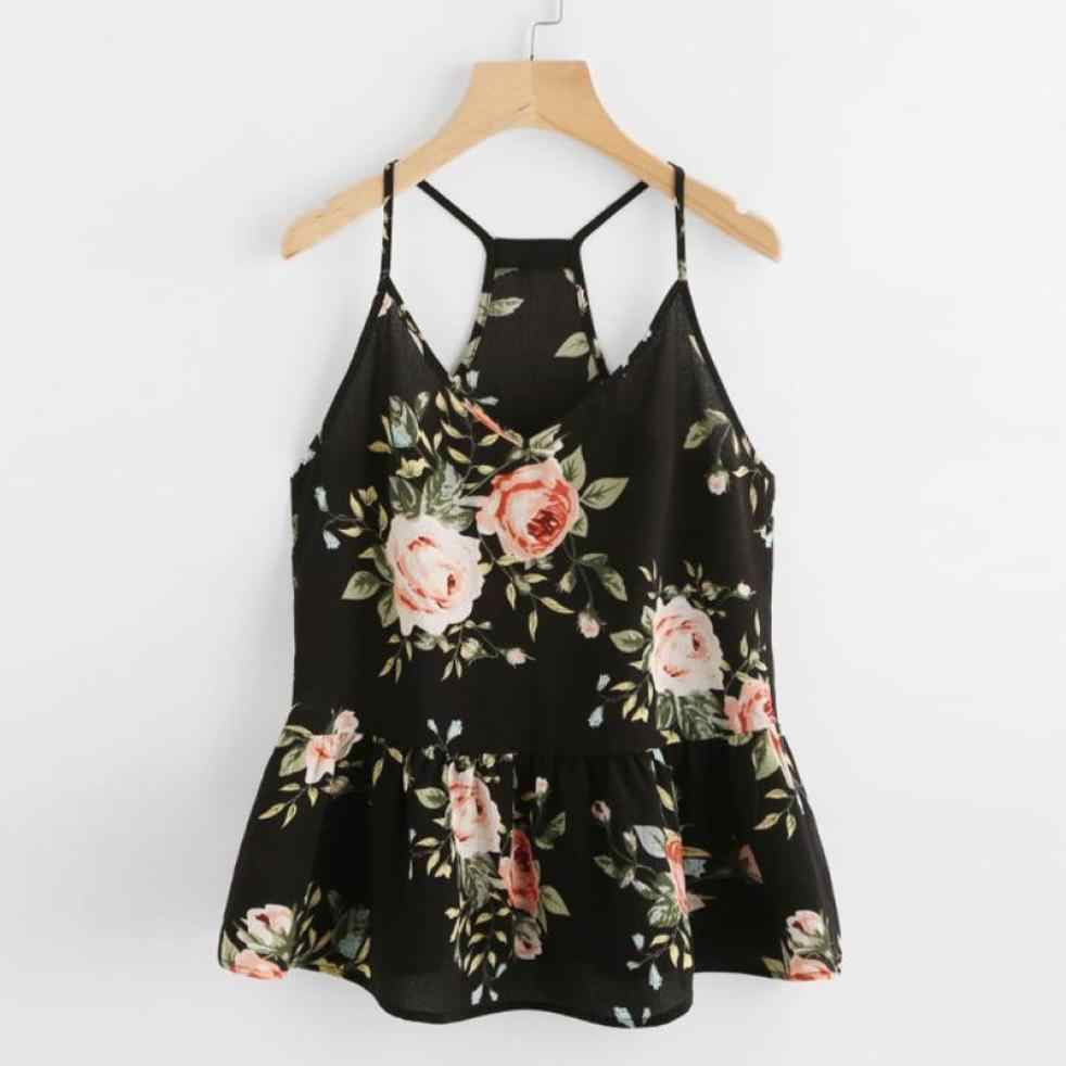 bd28c2e93b7 Summer Boho Camisole Women Peplum Shrits Sexy Sleeveless Floral Printed Vest  Shirt Lady V-Neck