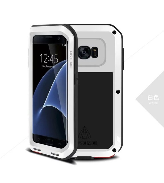 Waterproof shockproof Aluminum Metal Cell Phone Case+Gorilla Toughened Glass For Samsung Galaxy S7 edge SM-G935A SM-G935F G9350