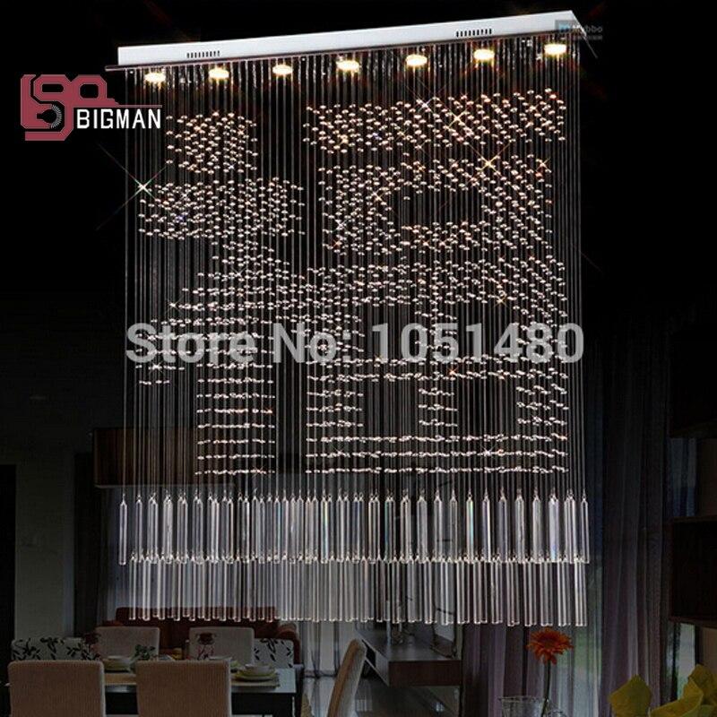 neue design rechteckige kristall moderne kronleuchter esszimmer leuchtenchina mainland - Feuer Modernen Design Rotes Esszimmer
