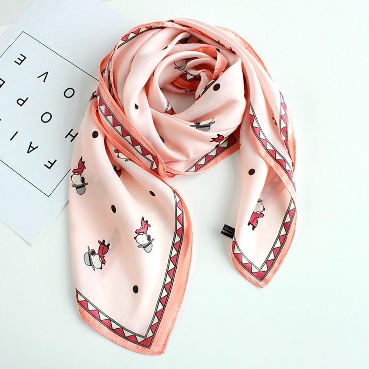 super cute dog cartoon digital print fashion new faux silk scarf summer spring small necktie super smooth soft scarf