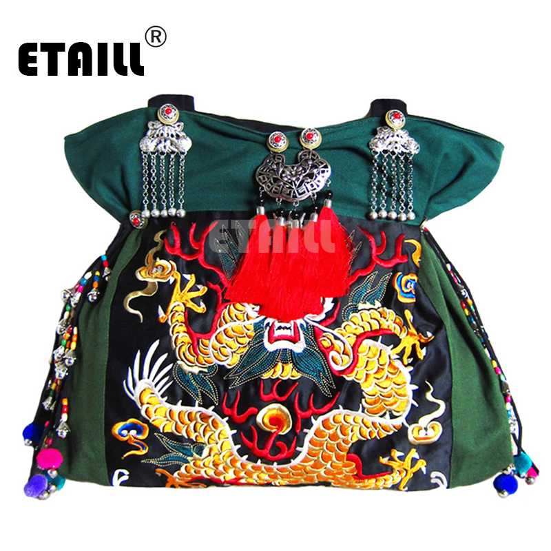 Chinois Face National Une Bolsa Sac Broderie Vintage Bordado Double Femme Épaule Dragon Brodé Ethnique Embroidered Fleur qxE0cwFH1