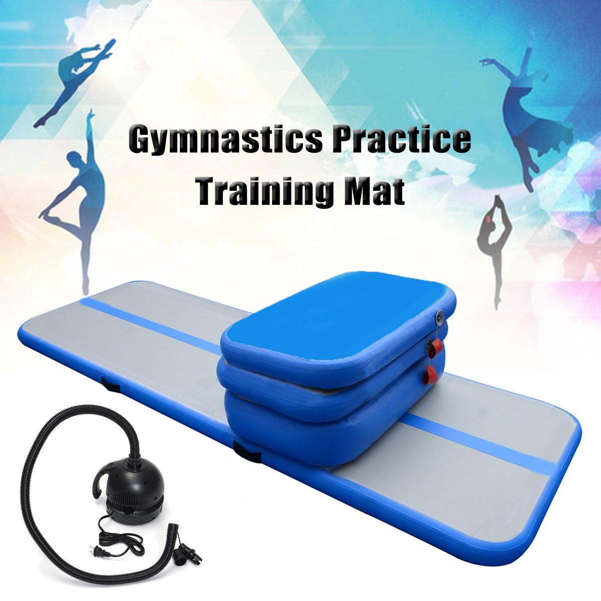 1M Inflatable GYM Gymnastics Air Track Tumbling Practice Training Mat Pad Set gofun airtrack 100x60x10cm portable air track tumbling training mat gymnastics exercise pad inflatable gym training mats