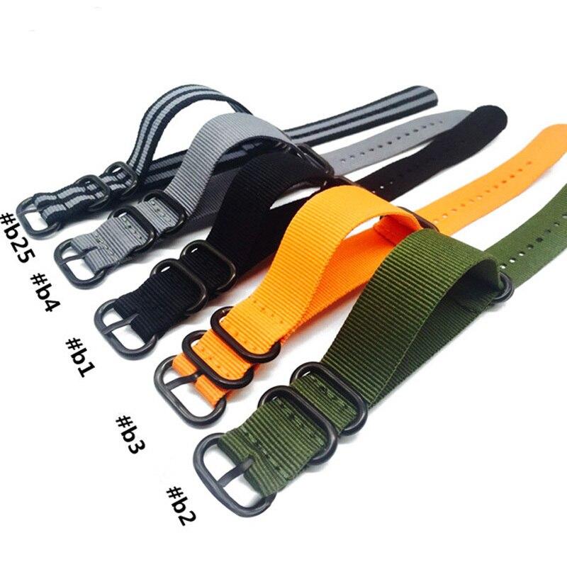 Nato Solid Black Buckle Stripe Orange ZULU 20mm 22mm 24mm Watchbands Men Women Watches Strap Wristwatch Band Buckle Belts in Watchbands from Watches