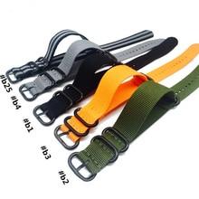 Nato Solid Black Buckle Stripe Orange ZULU 20mm 22mm 24mm Watchbands Men Women Watches Strap Wristwatch Band Buckle Belts все цены