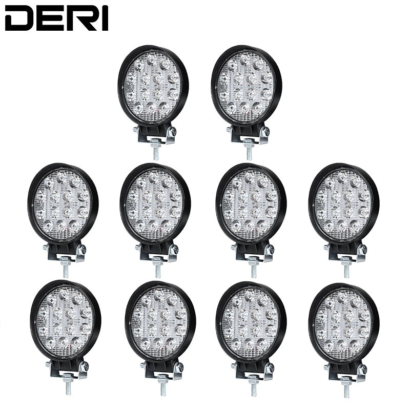 10Pcs 4 inch 42W Round LED Work Light Offroad Car 4WD Truck Tractor Boat Trailer 4x4