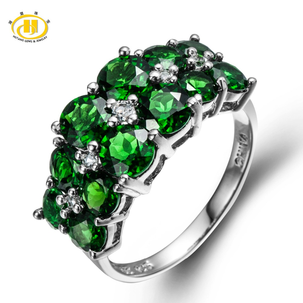 Hutang 4.49ct Natural Chrome Diopside & White Topaz Solid 925 Sterling Silver Ring Mother's day Gift Fine HuTang Jewelry цена и фото