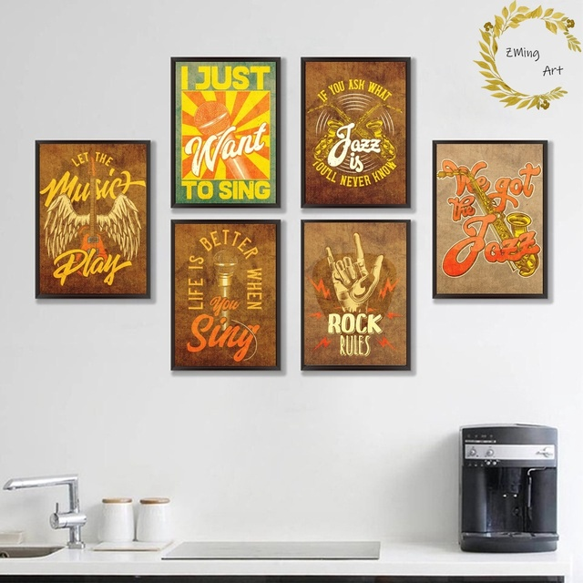 Cool Vintage Music Posters Rock Jazz Canvas Art Print Wall Pictures for Living Room No Frame
