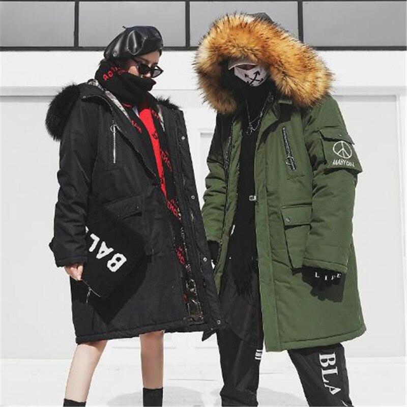 military Black Vêtement 18 Chapeau Mode Amovible Col Street High Green Casual De Couple Hiver Style Manteau Coton Extra Large Nouvelle Épaissie Long w8CHRwq