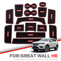 Almofada do entalhe da porta de zunduo para haval h6 2011 2019 acessórios  esteira de borracha do carro 3d vermelho/branco almofada interior da porta/esteira do copo   -