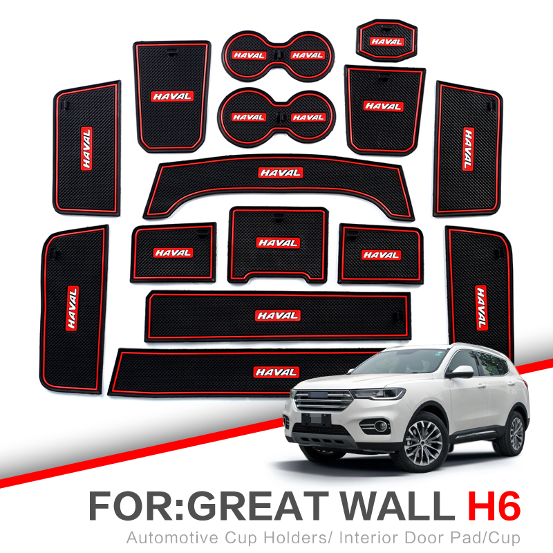 ZUNDUO Gate Slot Pad For Haval H6 2011-2019 Accessories,3D Rubber Car Mat  Red/white Interior Door Pad/Cup Mat