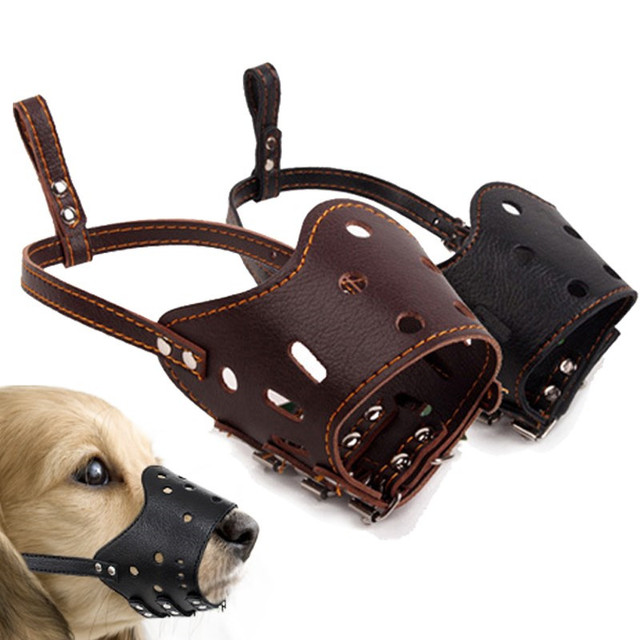 Fashion PU Pelle Morbida Dog Regolabile Prevenzione Morso Maschere Anti Bark Bit