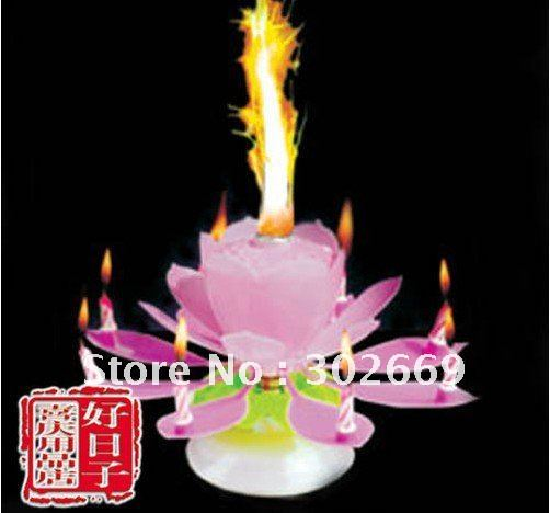 Lotus Birthday Candles Rotating Sparkling Music Candles Flower