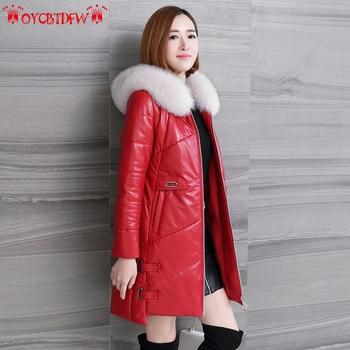 Zima Kobiety Skórzany Płaszcz 2018 Nowy Plus Size Połowie długości Futra lisa Kołnierz Z Kapturem Ekskluzywny Ciepłe Kobiet Prawdziwej Skóry płaszcz Ll653