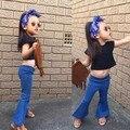 DKZ180 Розничная 2017 Новая мода девушка широкую ногу джинсы дети лето весна брюки моды жан мягкой 1-6Y девушки брюки