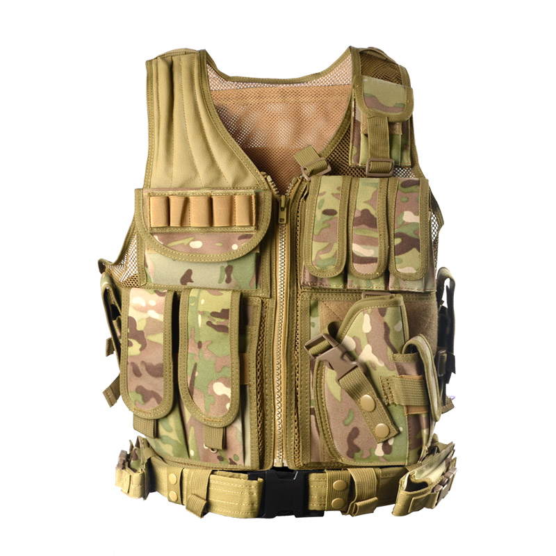 2017 New Outdoor Police Tactical Vest Camouflage Military Body Armor Sports Wear Hunting Vest Army Swat Molle Tank Tops ZM14 new hot sniper tactical bionic camouflage vest army fans hunting thermal vests camo clothes for winter outdoor sports