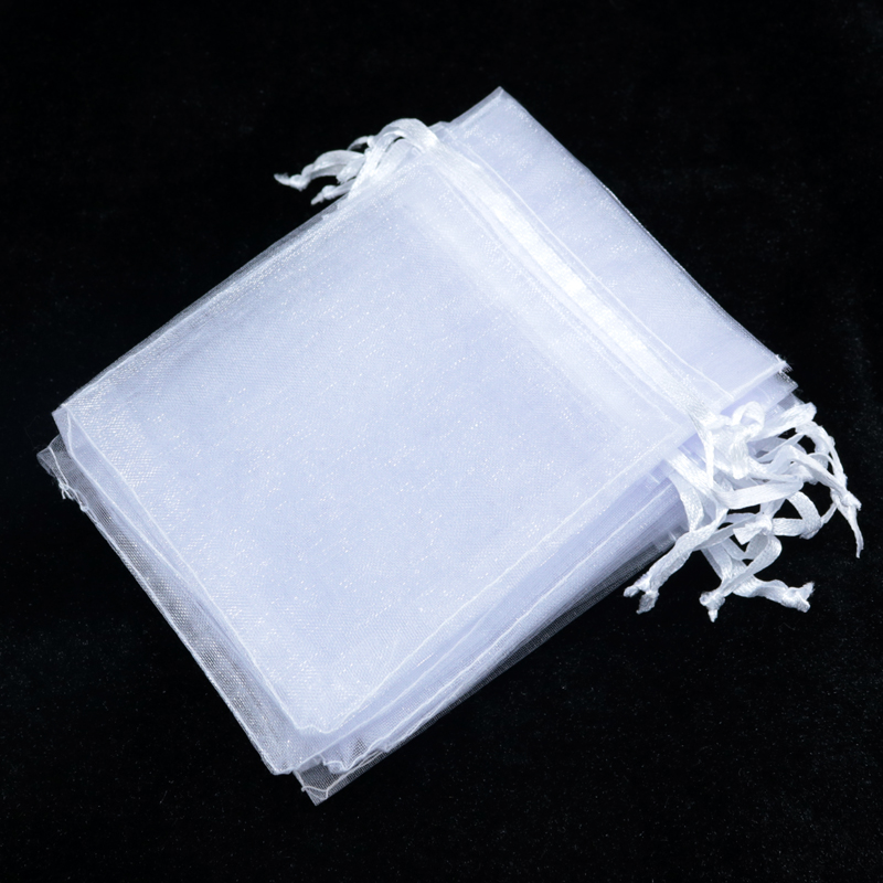 20x30cm White Organza Jewelry Bags Packaging Small Drawstring Pouches Gift Customized Logo Printing
