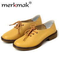 Merkmak Shoes Women 2017 Fashion Genuine Leather Leisure Footwear Platform Soft Wedge Shoes Flats Moccasins Women Sapatos Zapato