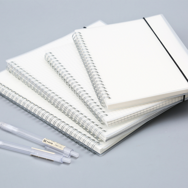 80 Sheets Silver Double Coil Ring Spiral Notebook Transparent PP