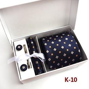 Image 5 - 2020 mens fashion tie set silk neckties dot ties for men tie handkerchief cufflinks gifts box packing mens clothing accessories
