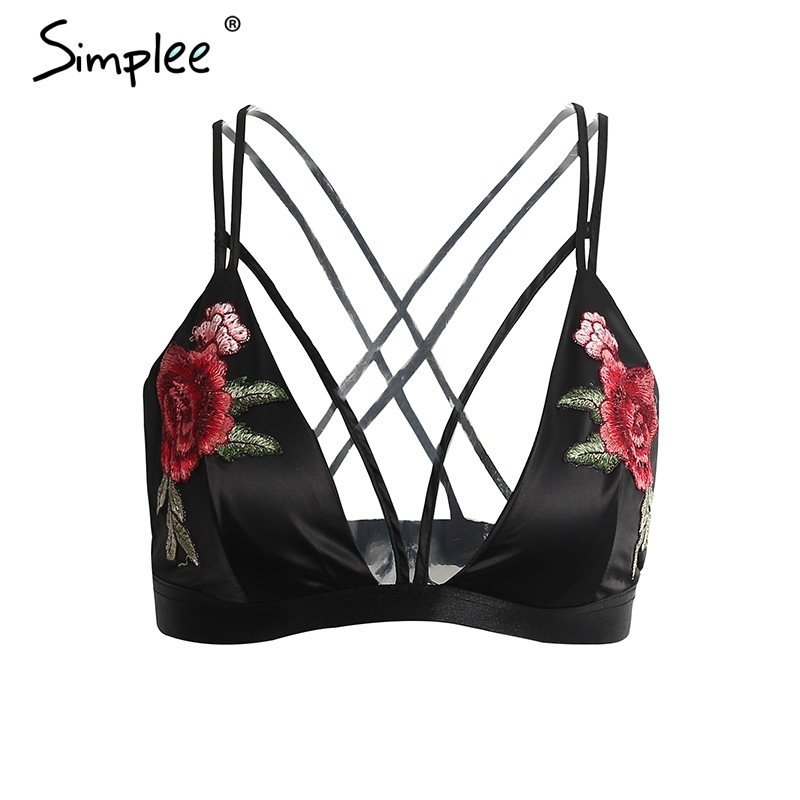 Simplee Sexy satin floral embroidery bra bralette Black triangle <font><b>hollow</b></font> out unpadded brassiere Summer party crop top lingerie