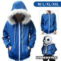 Hot Undertale Sans Hoodie Blue Coat Sweatshirt Cap Cosplay Costume Zipper Outer Otaku free shipping