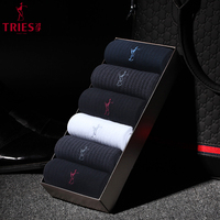 TRIES Men Brand Fashion Business Socks 100% Cotton Breathable Anti Bacterial Business Socks Men Casual Long Socks 6 Pairs/Lot