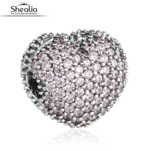 SHEALIA Rosa CZ Pave Abrir Meu Coração Encantos do Clipe 925 Sterling Silver Coração Stopper Beads Para Pulseiras Diy Jóias Acessórios