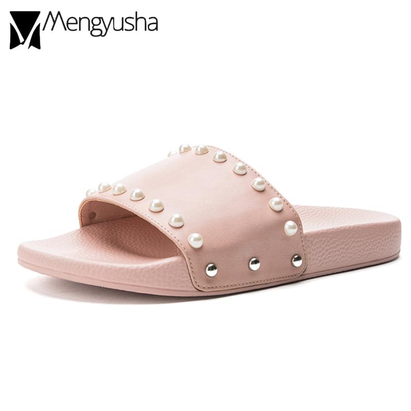 10d04ff4768 brand design slides women pearl studded beach sandals ladies summer rivets flip  flops woman summer new