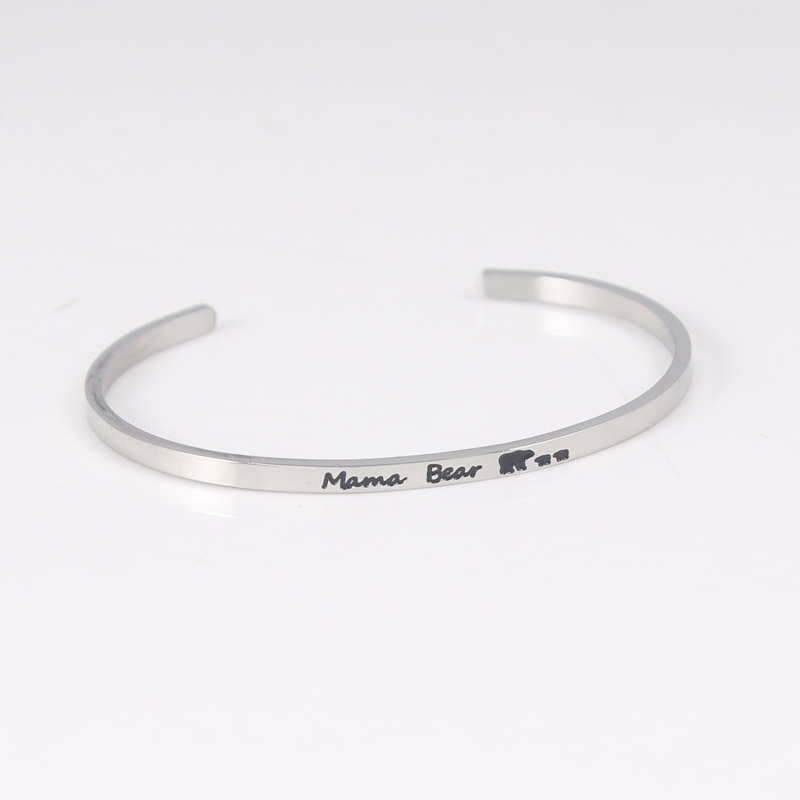 MAMA BEARStainless Steel Bar Engraved Positive Inspirational Quote Cuff Mantra Bracelet Bangle For Men Best Gifts