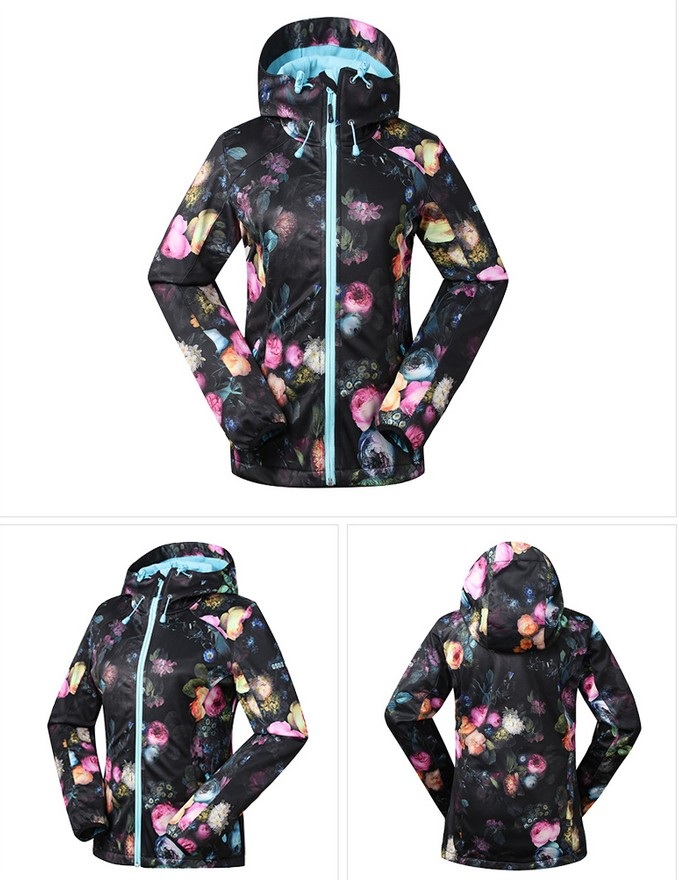 Women's Black With Flower Printing Fleece Ski Jacket Climbing Wear Hiking Jacket Female Spring Autumn Outdoor Sports Coat