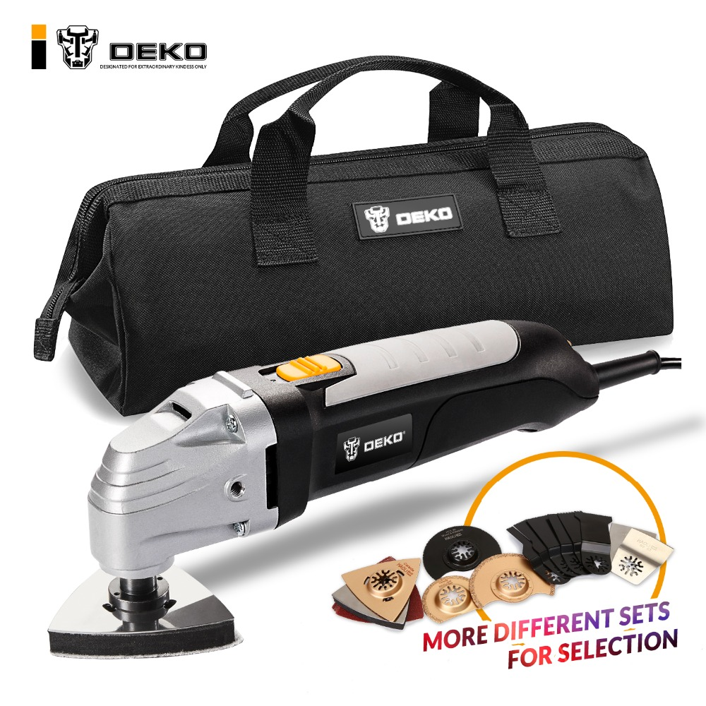 DEKO 220V Variable Speed Electric Multifunction Oscillating Tool Kit Multi-Tool Power Tool Electric Trimmer Saw w/ Accessories