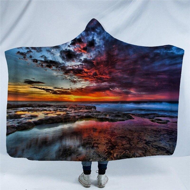 Impression 3D ciel étoilé couverture à capuche Mandala hiver chaud Sherpa polaire épais portable canapé adulte jeter couverture chambre décor à la maison