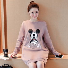 women dress pregnant O-Neck Pullovers print maternity clothes pregnancy long sleeve dress china-imported-clothes cotton Hooded