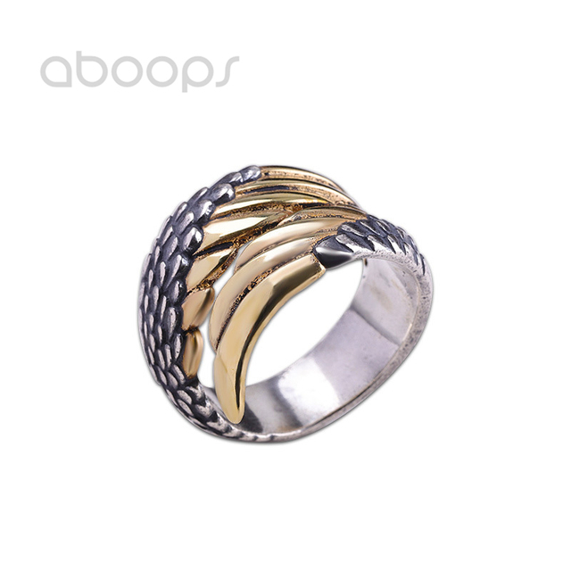 Two Tone 990 Sterling Silver Wings Ring for Men Women Adjustable Size 8-11 Free Shipping