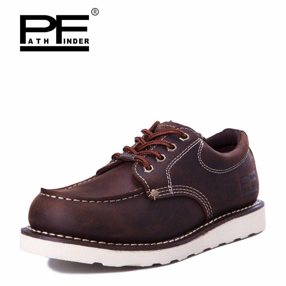Pathfind Mens ankle boots de Couro genuíno 2019 botas de neve de Ferramentas de segurança Botas militares Homens sapatos Ao Ar Livre Sapatos da moda 2018 Retro marrom