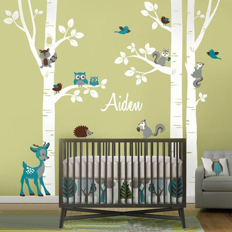 Grand Bouleau Arbres Animaux Hibou Écureuil Cerf Forêt Vinyle Pépinière Stickers Muraux Personnalisé Art Autocollants pour Enfants Chambres Home Decor